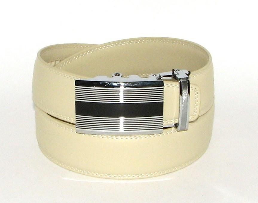 Ремень кожаный с пряжкой автомат Alon H5296 120 см женский молочный
