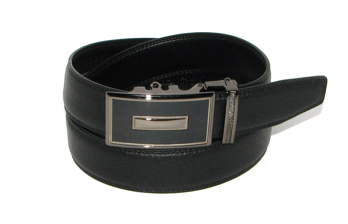 Ремень кожаный с пряжкой автомат Alon h45401 135 см унисекс черный