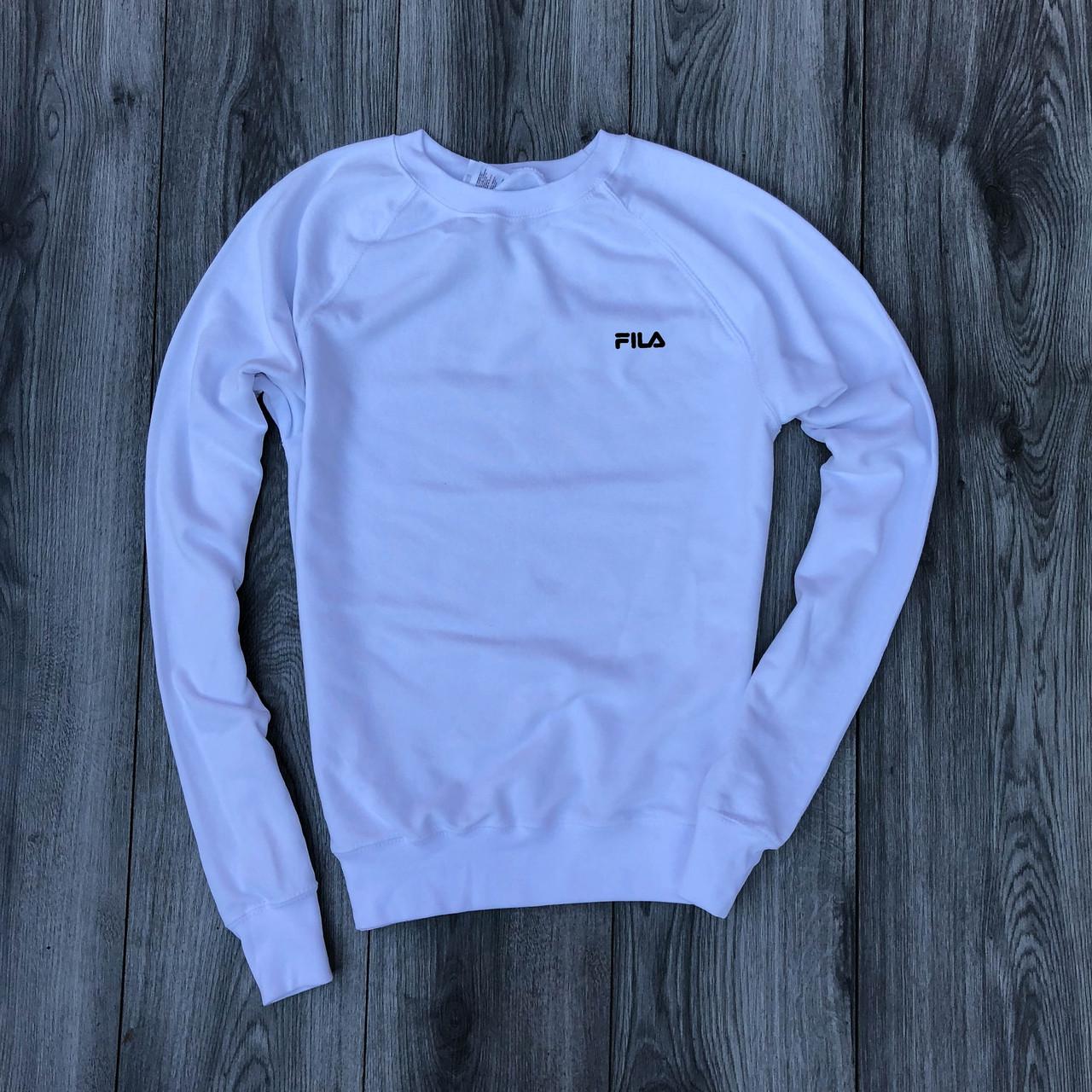 Мужская кофта - Свитшоты  в стиле Fila белый (утеплен)