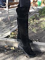 Зимние ботфорты на низком ходу с натурального замша
