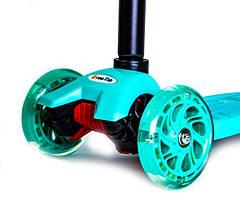 Самокат детский Maxi. Бирюзовый цвет. Светящиеся колеса!, фото 2