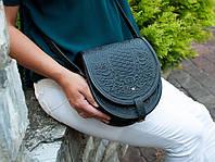 Женская кожаная чёрная сумка ручной работы полукруглая, фото 1