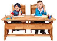 Парта растишка с ящиками  для двоих детей.(ширина 120см) + 2 стульчика. Mobler, фото 1
