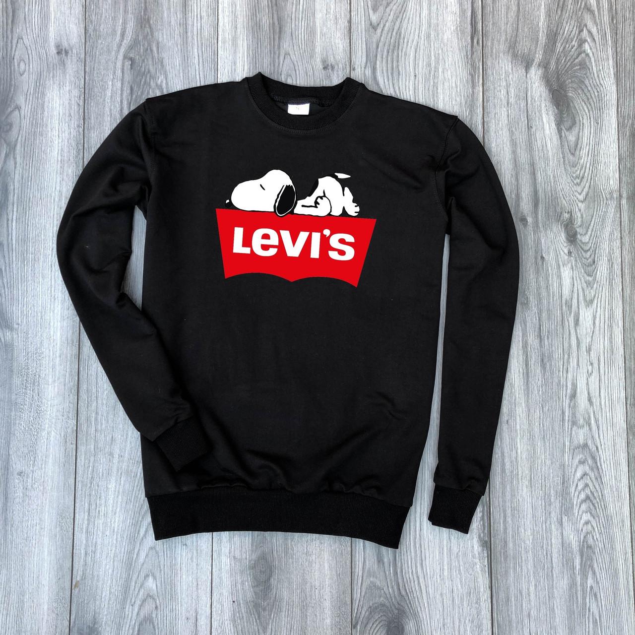 Мужская кофта - Свитшоты в стиле Levi`s черный (утеплен)