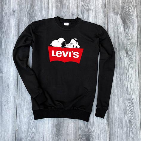 Мужская кофта - Свитшоты в стиле Levi`s черный (утеплен), фото 2