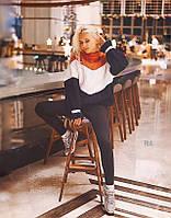 Женский свитер триколор объемной машинной вязки