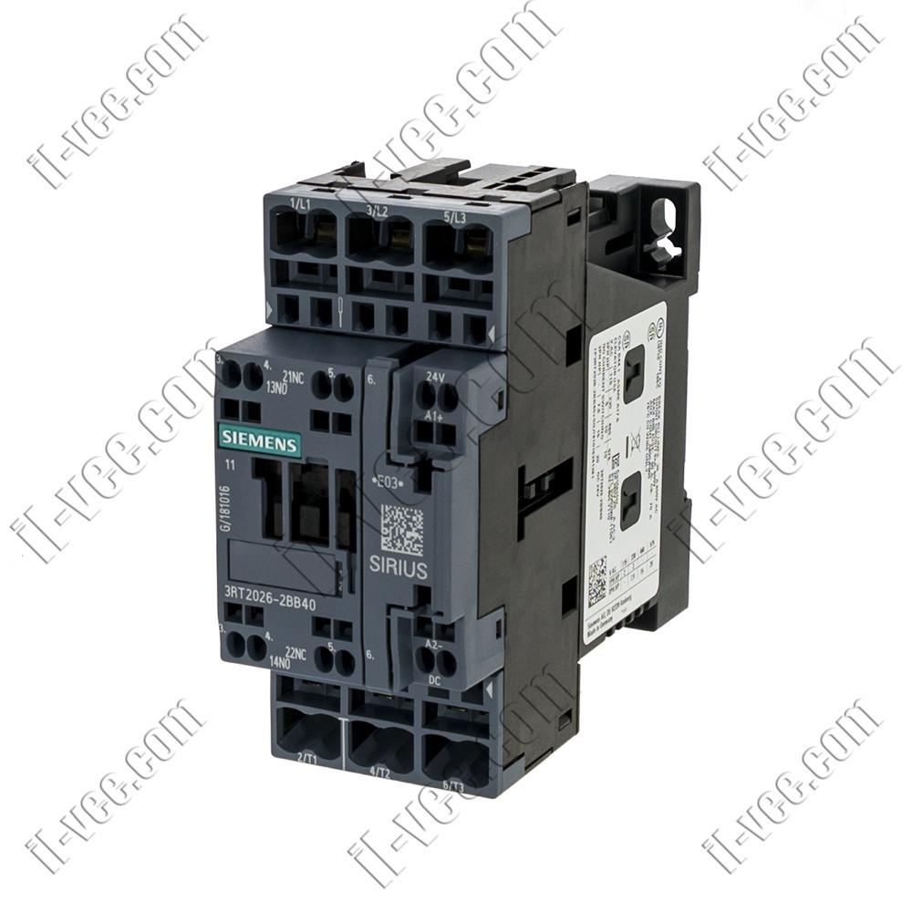 Контактор Siemens 3RT2024-2ВВ40, AC-3 5.5kW/400V, 1NO+1NC, 24VDC