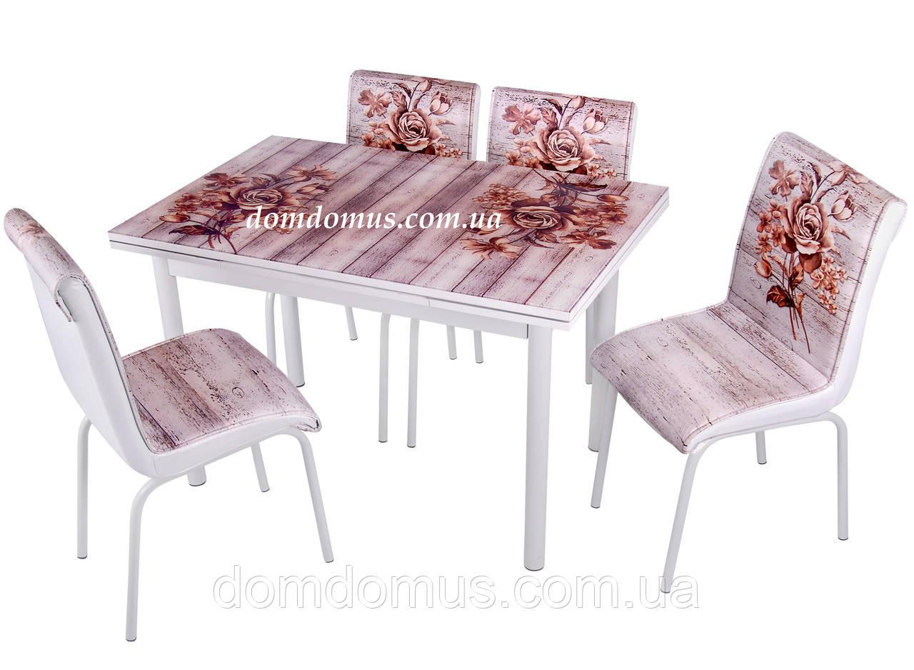 """Комплект обідній меблів """"Букет троянд"""" (стіл ДСП, гартоване скло + 4 стільця) Mobilgen, Туреччина"""