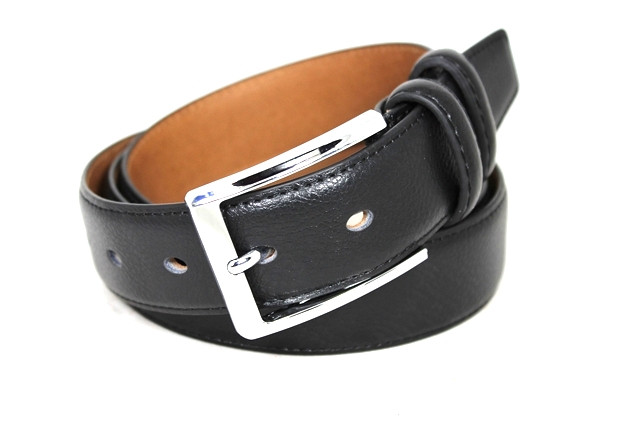 Ремень кожаный шириной 3,5 см Alon e352316 120 см унисекс черный
