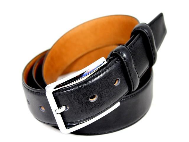Ремень кожаный шириной 3,5 см Alon E352276 130 см унисекс черный