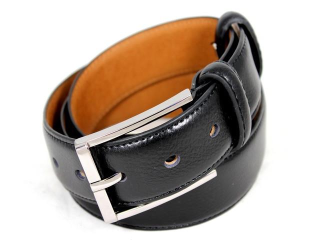Ремень кожаный шириной 3,5 см Alon E352255 120 см унисекс черный