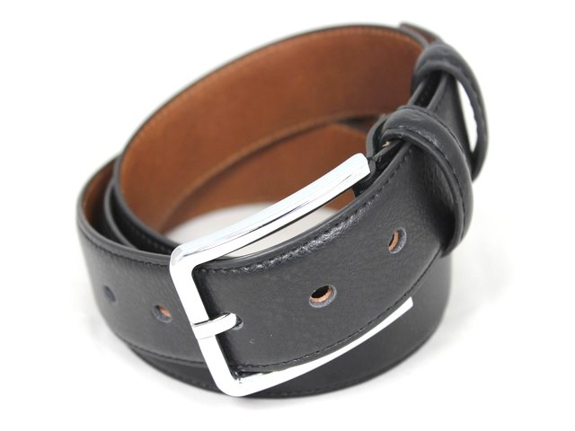 Ремень кожаный шириной 3,5 см Alon E352217 120 см унисекс черный