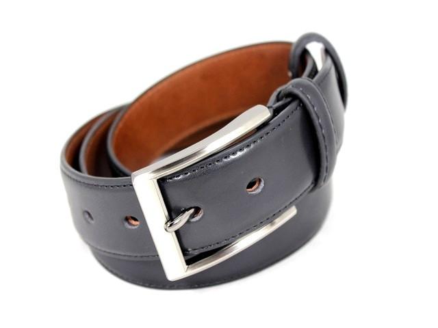 Ремень кожаный шириной 3,5 см Alon e352210 125 см унисекс черный