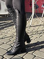 Стильные сапоги на шнуровке, небольшой и удобный каблук