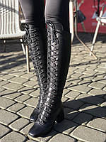 Стильные сапоги на шнуровке, небольшой и удобный каблук 36