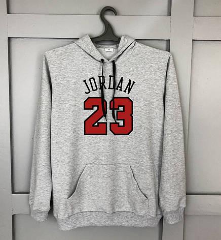 Мужская кофта - Кенгуру в стиле Jordan 23 серый, фото 2
