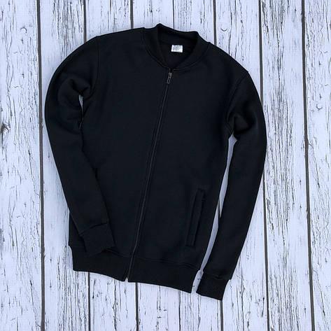 Мужская кофта - Бомбер-трикотажный черный (утеплен), фото 2