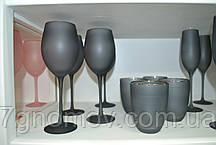 Набор 6 бокалов для вина из серого стекла Черная Пантера 400 мл, фото 2