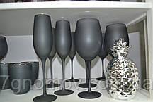 Набор 6 бокалов для вина из серого стекла Черная Пантера 400 мл, фото 3