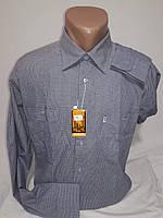 Рубашка мужская с длинным рукавом Deniro vd-0042 голубая в клетку классическая 100% хлопок