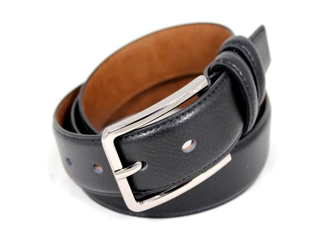Ремень кожаный шириной 3,5 см Alon E352016 110 см мужской, женский черный