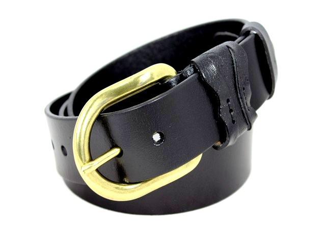 Ремень кожаный шириной 3,5 см Alon b4601b 115 см мужской черный