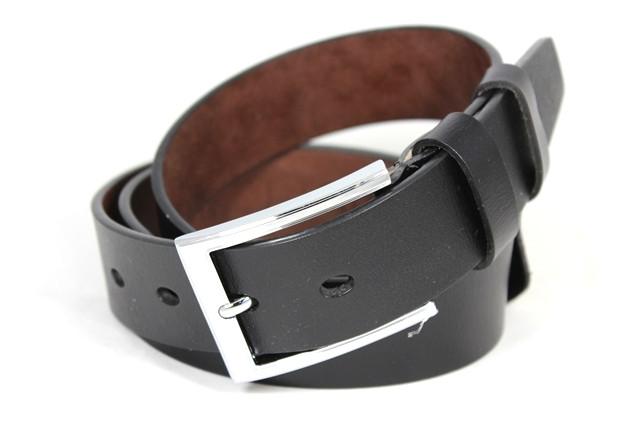 Ремень кожаный шириной 3,5 см Alon a35074 125 см мужской черный