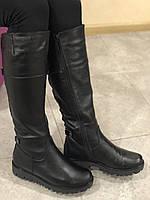 Женские кожаные сапоги черного цвета ( европейка)