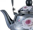 Эмалированный чайник с подвижной ручкой Benson BN-101 1,5 л | Черный с рисунком, фото 2