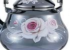 Эмалированный чайник с подвижной ручкой Benson BN-101 1,5 л | Черный с рисунком, фото 5