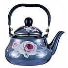 Эмалированный чайник с подвижной ручкой Benson BN-101 1,5 л | Черный с рисунком, фото 6