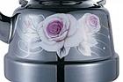 Эмалированный чайник с подвижной ручкой Benson BN-104 1.1 л | Черный с рисунком, фото 4