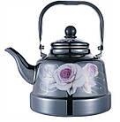 Эмалированный чайник с подвижной ручкой Benson BN-104 1.1 л | Черный с рисунком, фото 5
