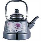 Эмалированный чайник с подвижной ручкой Benson BN-107 3.3 л | Черный с рисунком, фото 6