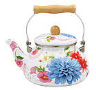 Эмалированный чайник с подвижной деревянной ручкой Benson BN-109 2.5 л   Белый с рисунком, фото 4