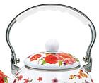 Эмалированный чайник с подвижной нейлоновой ручкой Benson BN-110 2.5 л | Белый с рисунком, фото 5