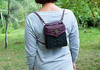 Кожаный фиолетово-чёрный рюкзак ручной работы, сумочка-рюкзак с авторским тиснением, фото 1