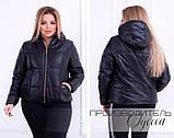 Женская куртка демисезонная плащевка на 150-ом синтепоне короткая на змейке размер:48-50,50-52,52-54,54-56, фото 2