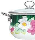 Эмалированная кастрюля с крышкой Benson BN-112 2.7 л | Белая с цветочным декором, фото 4
