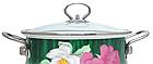 Эмалированная кастрюля с крышкой Benson BN-114 4.8 л   Белая с цветочным декором, фото 7