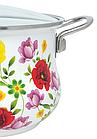 Эмалированная кастрюля с крышкой Benson BN-116 1,9 л    Белая с цветочным декором, фото 2
