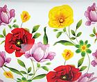 Эмалированная кастрюля с крышкой Benson BN-116 1,9 л    Белая с цветочным декором, фото 3