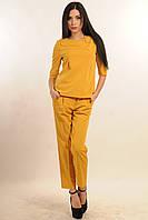 Строгий офисный женский костюм с брюками горчичного цвета Горчица  42, 46, 52