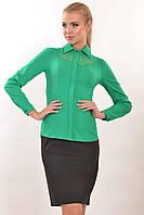 Зеленая строгая офисная женская блуза с кружевом Джая 42, 44, 50, 52