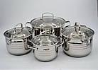 Набор кастрюль из нержавеющей стали 8 предметов Benson BN-202 2,1 л, 2,9 л, 3,9 л, 6,5 л, фото 8