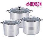 Набор кастрюль из нержавеющей стали 6 предметов Benson BN-215 11 л, 13 л, 16 л, фото 6