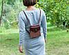 Кожаный рюкзак ручной работы бордово-бежеевый, сумочка-рюкзак с авторским тиснением