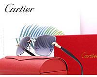 Женские брендовые солнцезащитные очки в стиле Cartier (17063) grey, фото 1