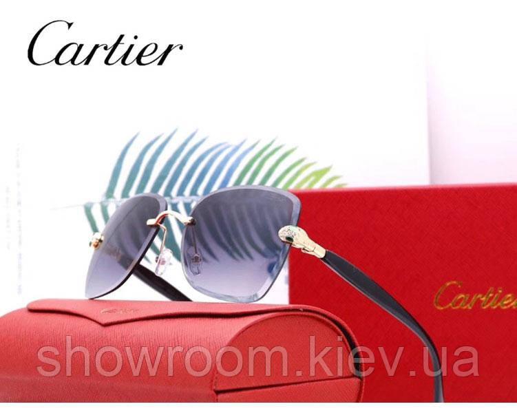 Женские брендовые солнцезащитные очки в стиле Cartier (17063) grey