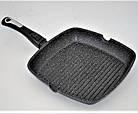 Сковорода-гриль мраморное покрытие Benson BN-311 28*28*4 см | Сковородка со съемной ручкой SOFT TOUCH, фото 2